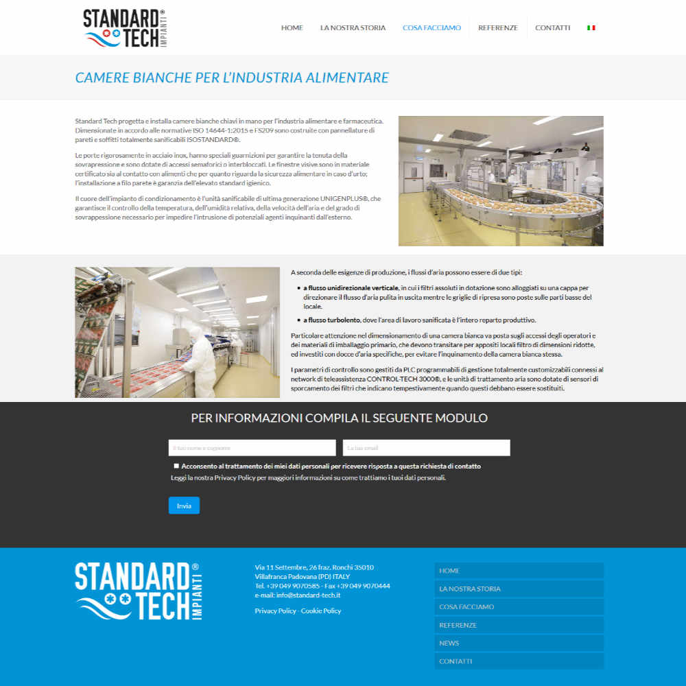 Standard Tech esempio pagina camere bianche